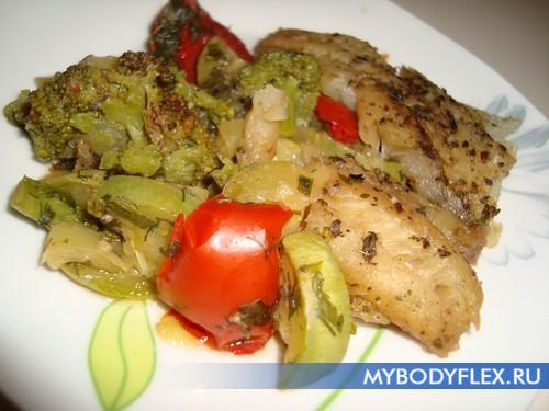 Диетический минтай в духовке с овощами рецепт